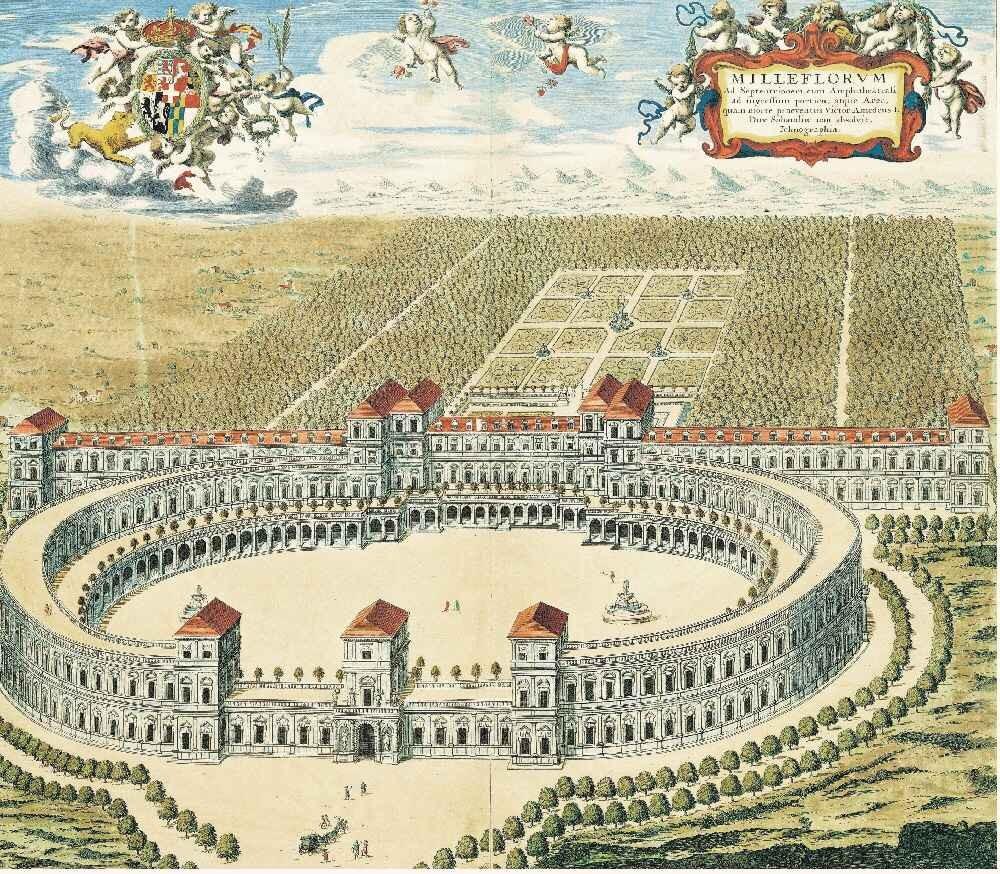 Giardino e castello di Milleflorum (Mirafiori) in un'incisione tratta dal Theatrum Sabaudiae (1682) Ph. Nichelino on line