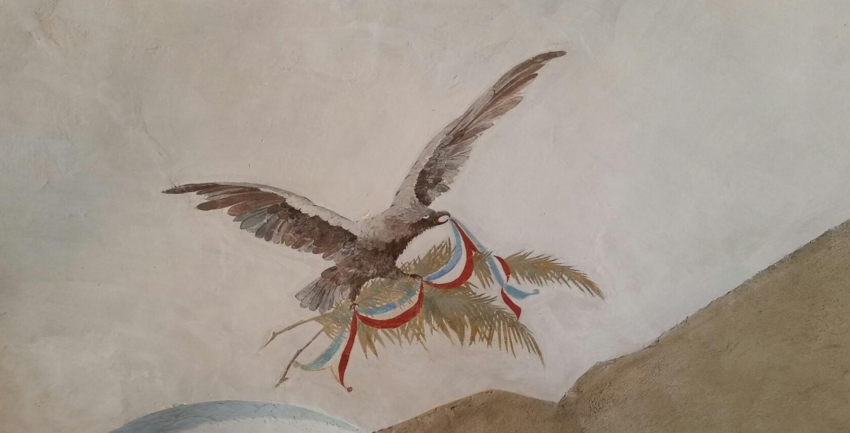 L'aquila sabauda strappa il tricolore rivoluzionario francese - immagine allegorica affrescata nella Fortezza di Fenestrelle