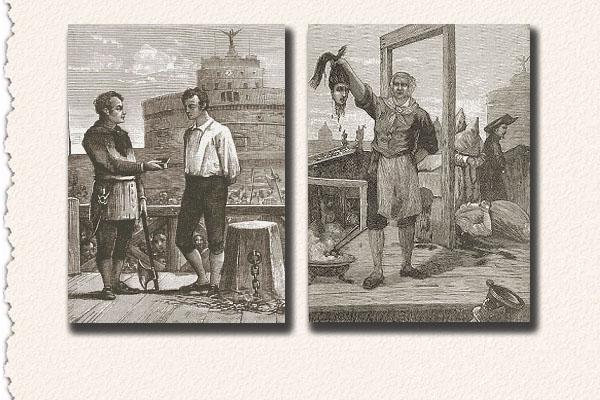 Mastro Titta, da giovane opera con la mannaia e da anziano con la ghigliottina