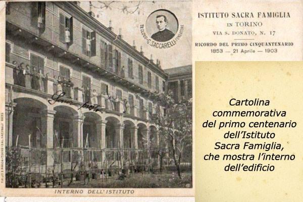 Cartolina commemorativa dell'Istituto Sacra Famiglia