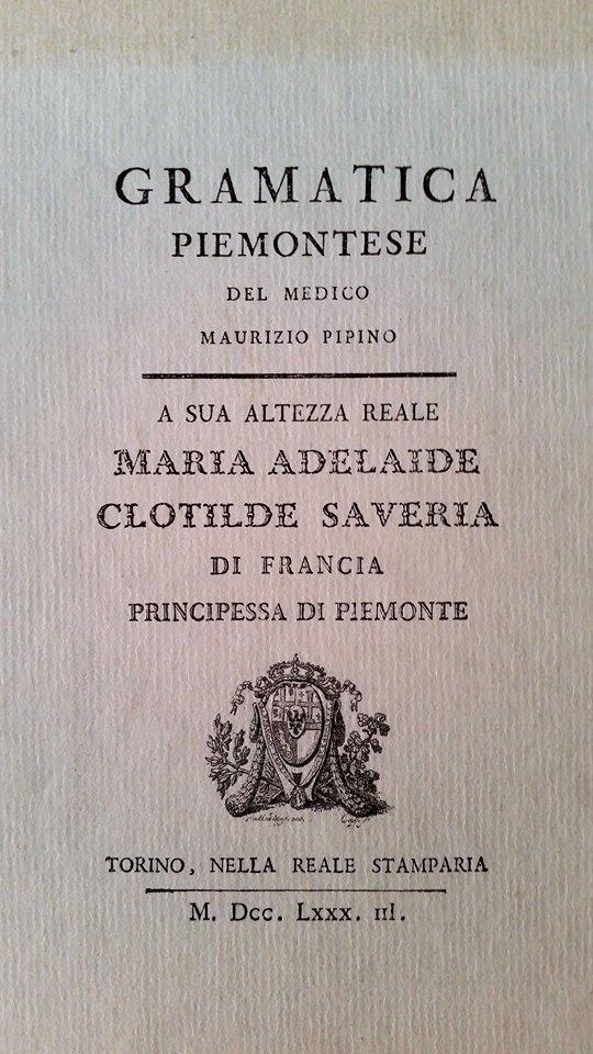 Frontespizio Grammatica Piemontese di Maurizio Pipino
